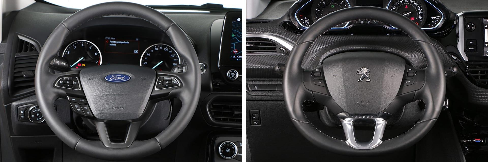 El volante del Peugeot 2008 (dcha.) tiene unas dimensiones más reducidas de lo normal.