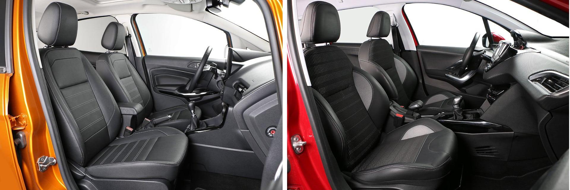 Los asientos del Ford (izq.) tienen un mullido algo más duro y con poco soporte lumbar.