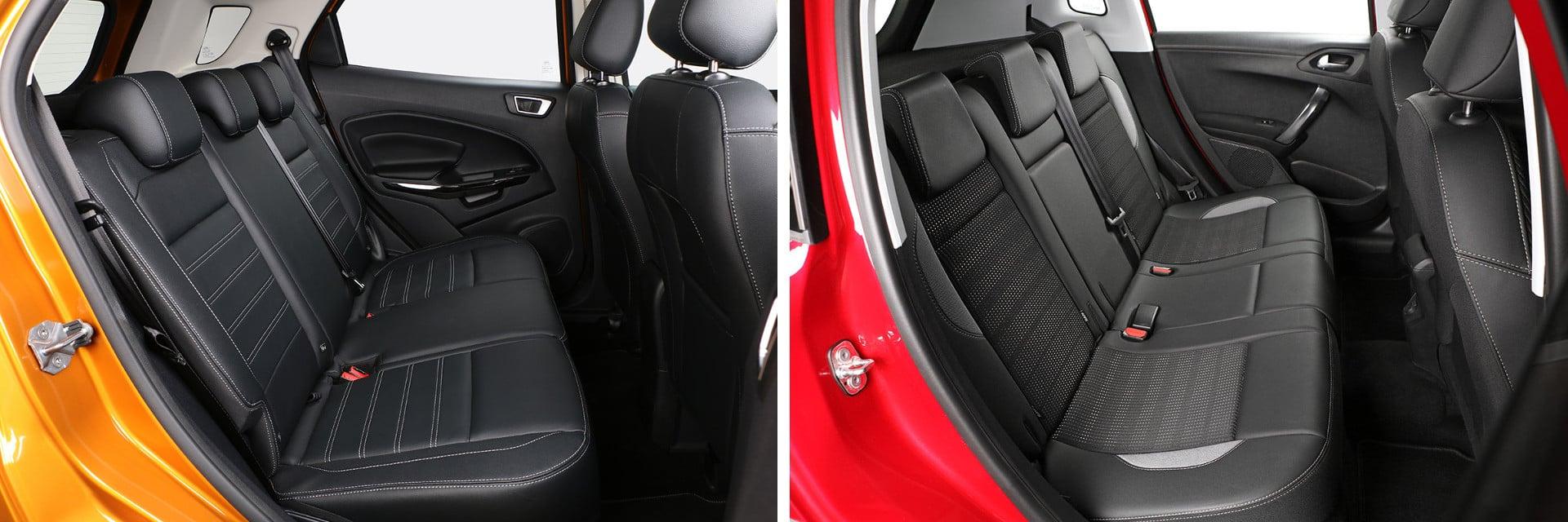 Los pasajeros de las plazas traseras cuentan con más altura y espacio para las piernas en el Peugeot 2008 (dcha.)