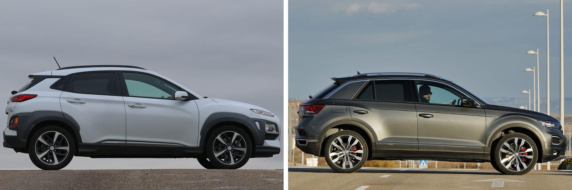 El Volkswagen T-Roc (dcha.) tiene una respuesta más inmediata y un mejor giro que el Kona (izq.)