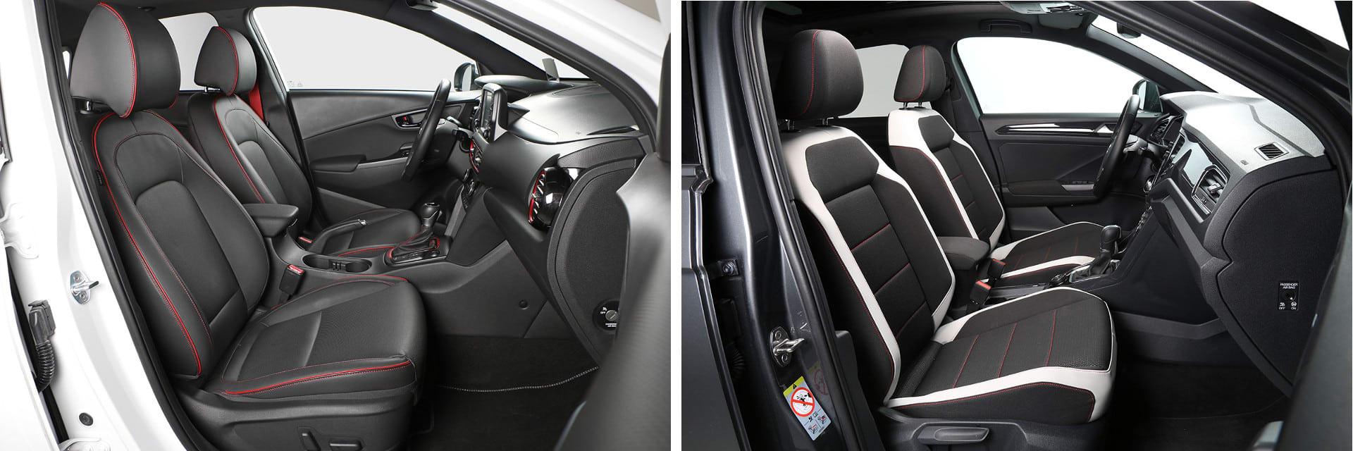 Si bien los asientos del Kona (izq.) son ventilados, los del Volkswagen T-Roc no (dcha.)