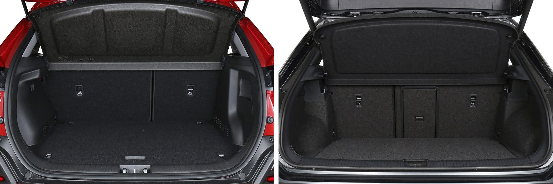 El maletero del Kona (izq.) tiene una capacidad de 361 litros; la del T-Roc (dcha.) es de 445 litros.