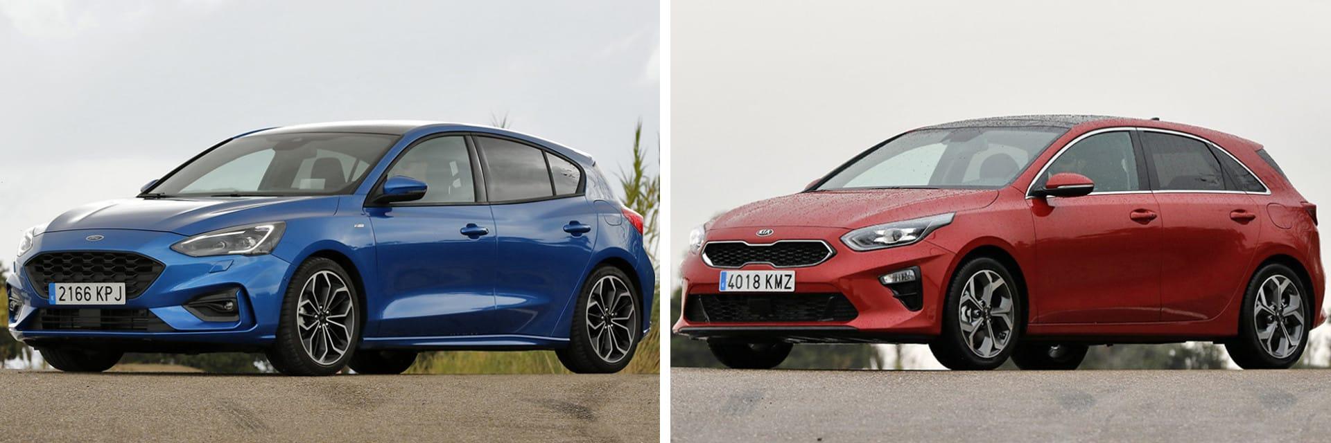 El Ford Focus (izq.) tiene un consumo menor que el KIA Ceed (dcha.)