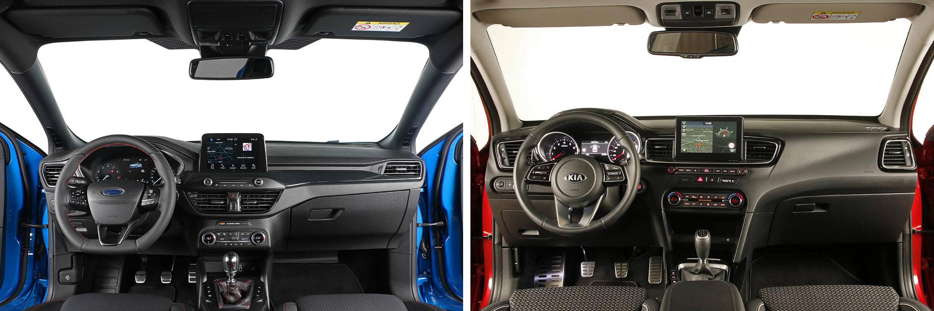 El interior de ambos modelos está hecho con buenos materiales, pero los del KIA Ceed (dcha.) están mejor ensamblados.