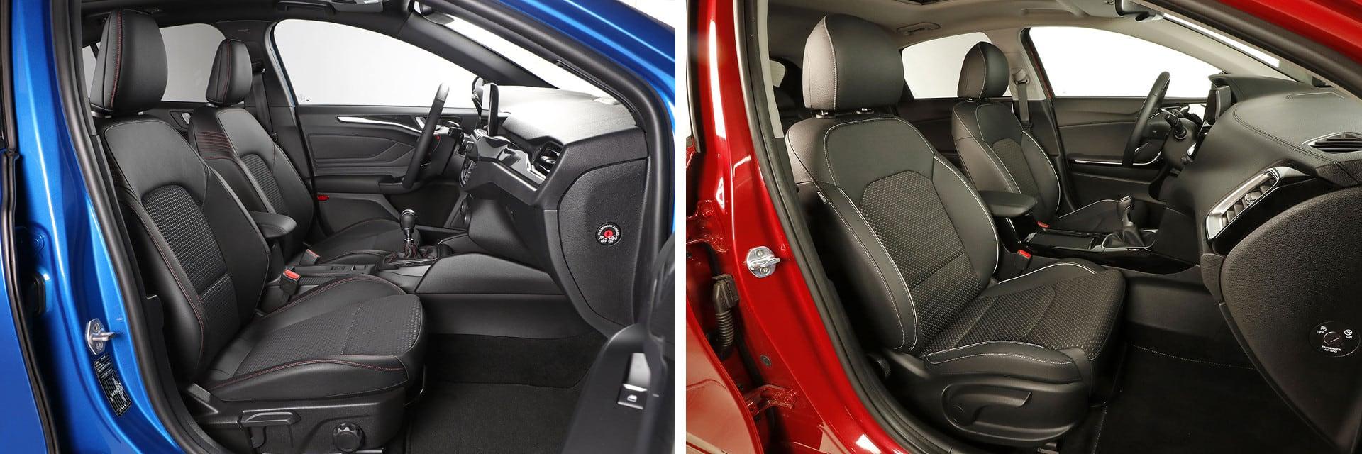 Los asientos del KIA Ceed (dcha.) son más cómodos que los del Ford Focus (izq.) debido a que tienen más mullido.