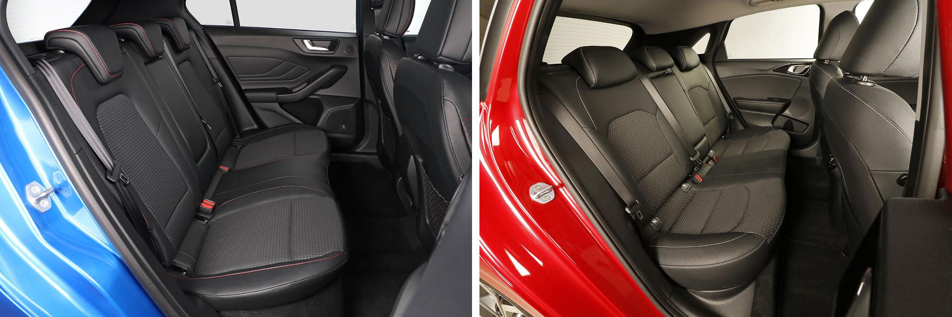 La parte trasera del Ford Focus (izq.) tiene más espacio para las piernas y es más ancho que el Ceed (dcha.)