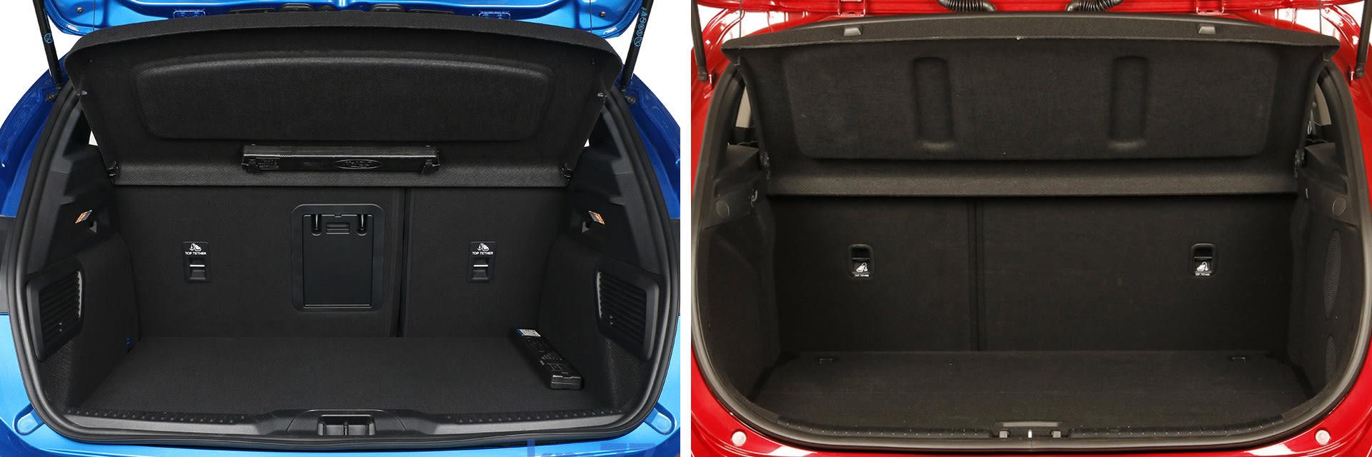 El Ford Focus (izq.) tiene un maletero de 375 litros, mientras que el del KIA Ceed (dcha.) es de 395.