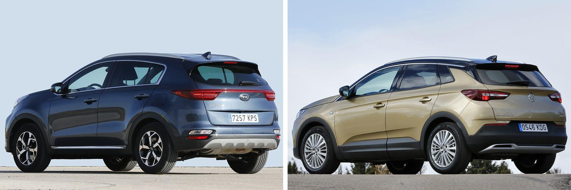 Con los motores probados, el Opel Grandland X (dcha.) es más rápido y ágil que el KIA Sportage (izq.)