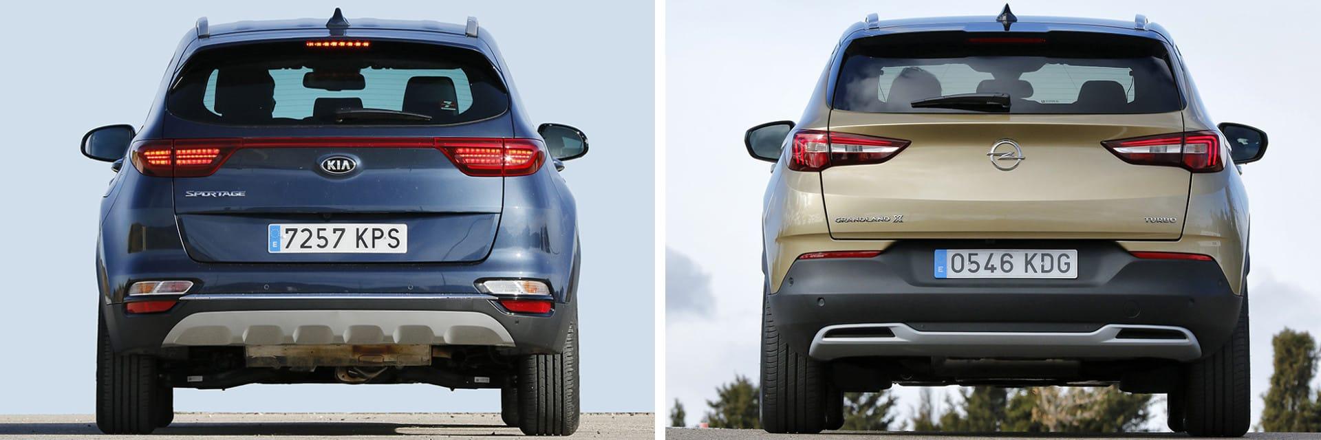 El KIA Sportage (izq.) y el Opel Grandland X (dcha.) tienen un consumo combinado de alrededor de 8 l/100 km.