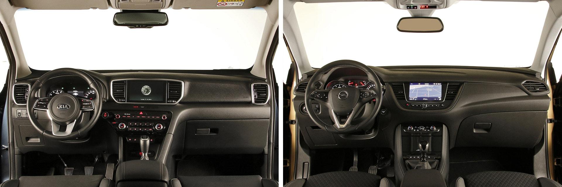 Tanto el interior del KIA (izq.) como el del Opel (dcha.) están hechos con materiales de recubrimiento de calidad.