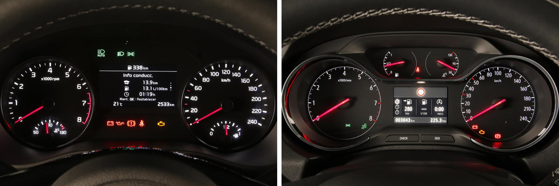 La instrumentación del KIA (izq.) lleva dos esferas y una pantalla en el centro; la del Opel (dcha.) muestra cuatro esferas y una pantalla central.