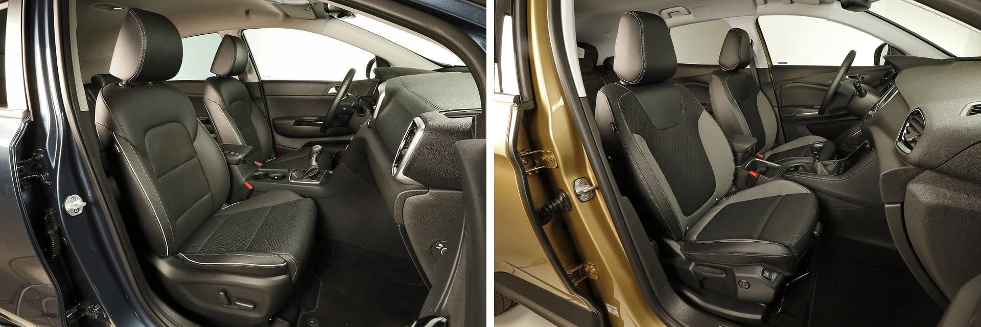 Es aconsejable probar el puesto de conducción del Opel (dcha.) ya que los pedales quedan demasiado próximos a los asientos.