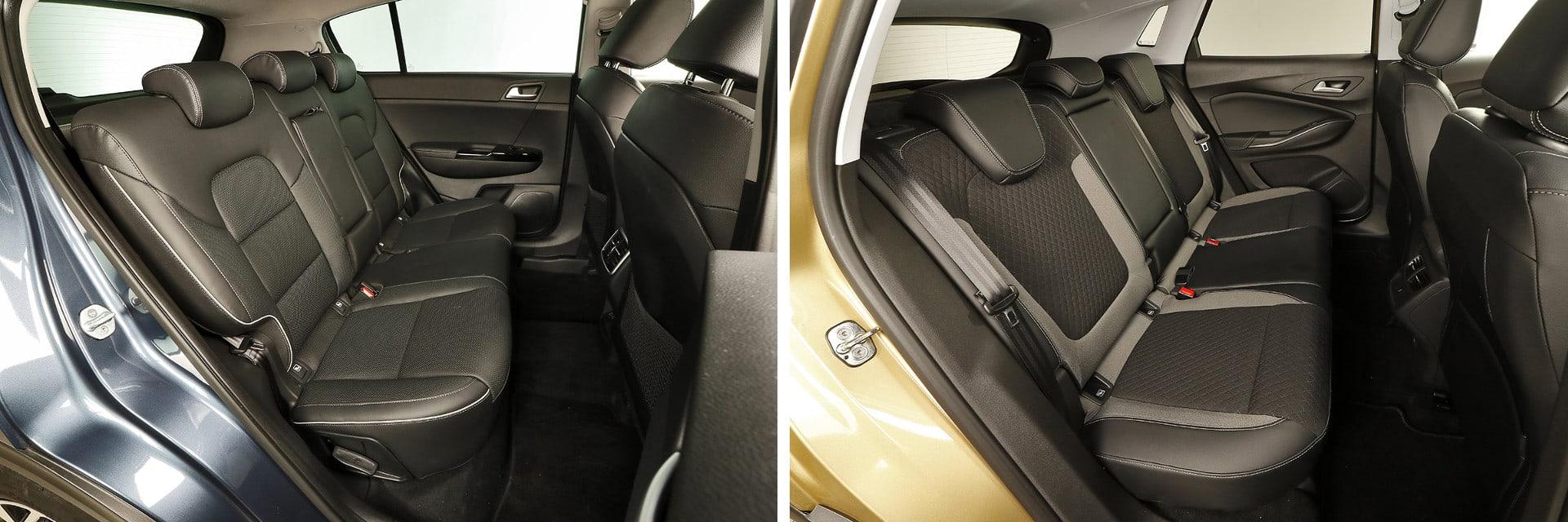 Los asientos traseros del KIA (izq.) pueden reclinarse 39 grados; los del Opel (dcha.) no se reclinan.