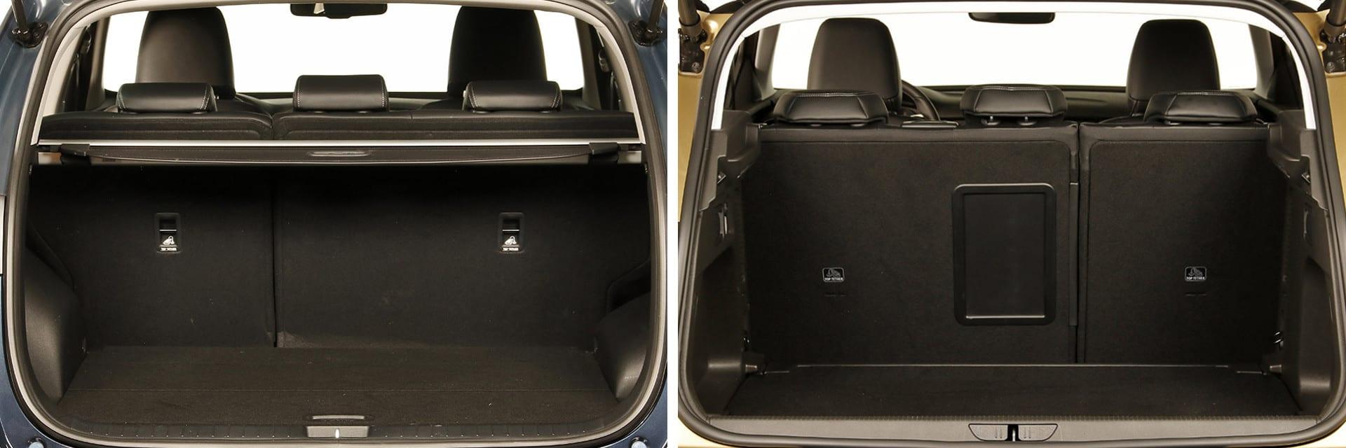 El maletero del KIA Sportage (izq.) tiene una capacidad de 503 litros y la del Opel Grandland X (dcha.), de 515 litros.