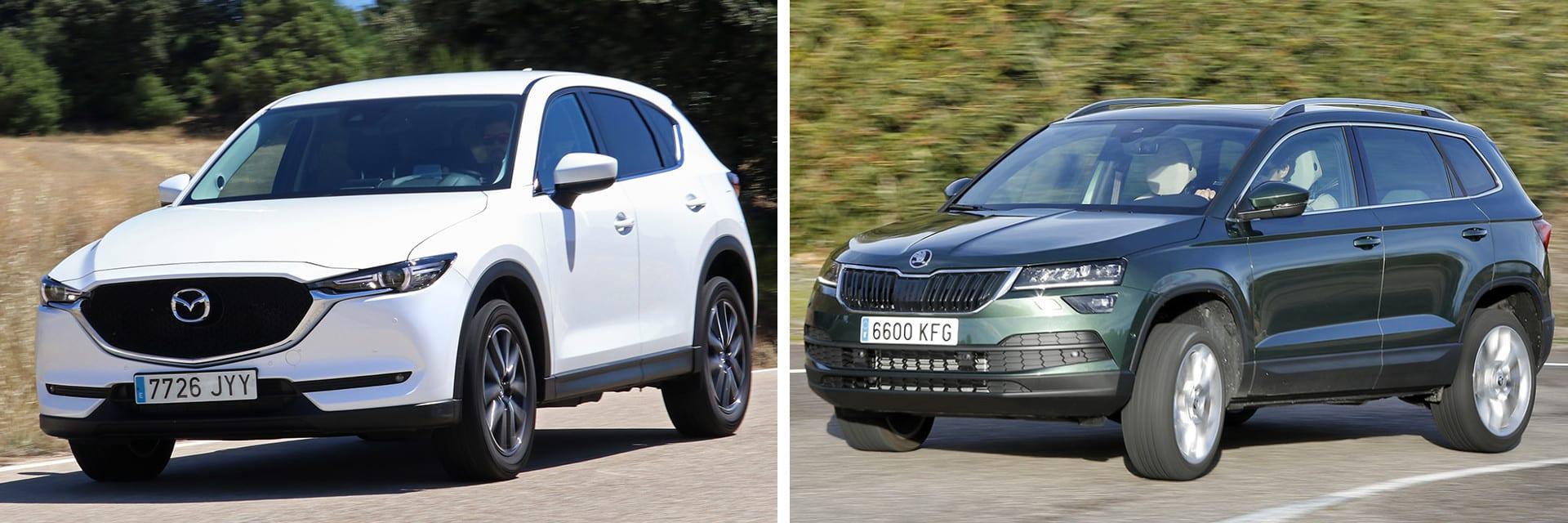 El Mazda CX-5 (izq.) con el acabado Evolution es más completo en equipamiento que el acabado Ambition en el Karoq (dcha.)