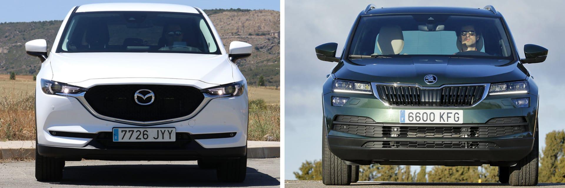 Las fotos del Mazda CX-5 (izq.) corresponden al acabado Zenith y las del Škoda Karoq (dcha.) al Style. / km77