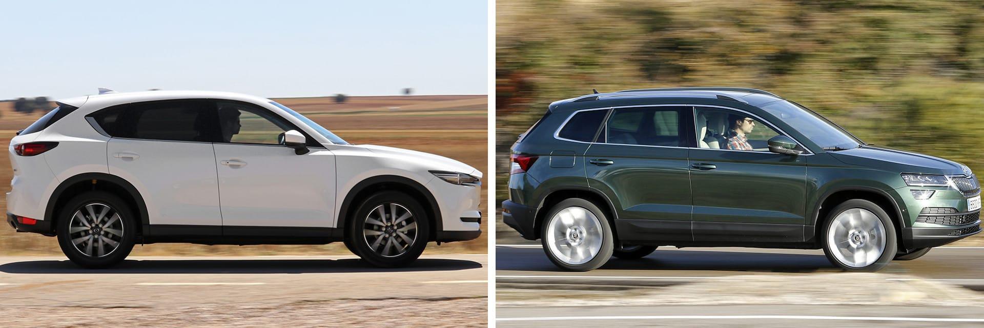 El consumo del Mazda (izq.) hizo un consumo de 6,9 l/100 km en autovía; el del Karoq (dcha.) fue de 6,5 l/100 km en el mismo trayecto.