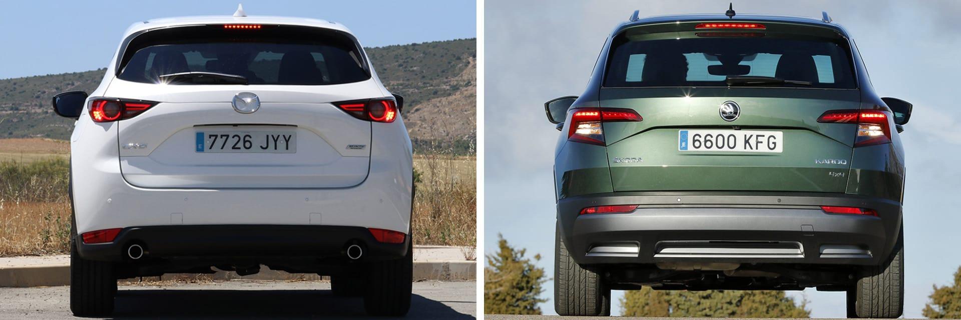 En el Mazda (izq.) con motor diésel de 150 CV está disponible la tracción total o a las ruedas traseras. El Skoda Karoq (dcha.) siempre viene con tracción a las cuatro ruedas.