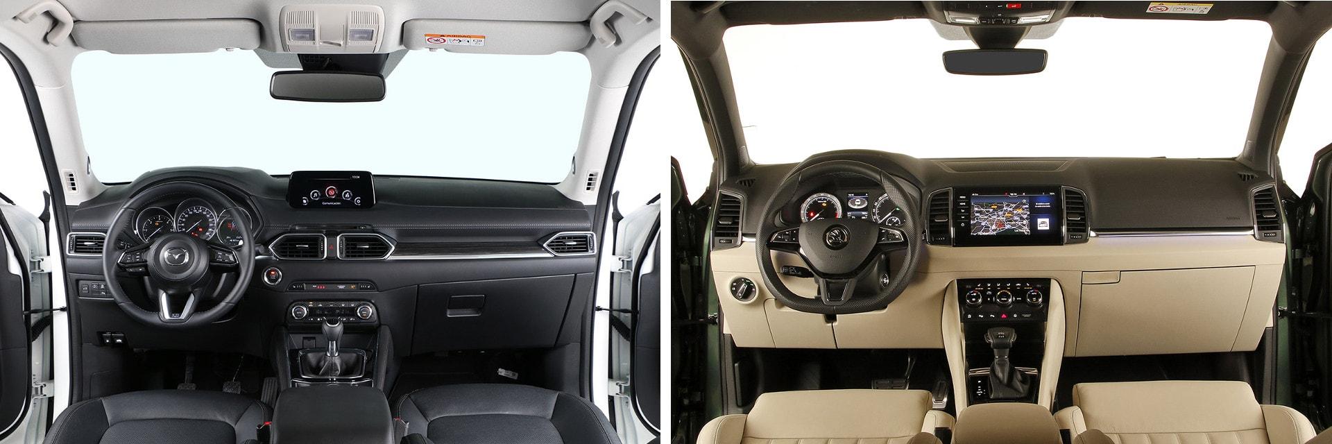 Tanto el Mazda (izq.) como el Škoda (dcha.) cuentan con un interior sólido y de buena presencia.