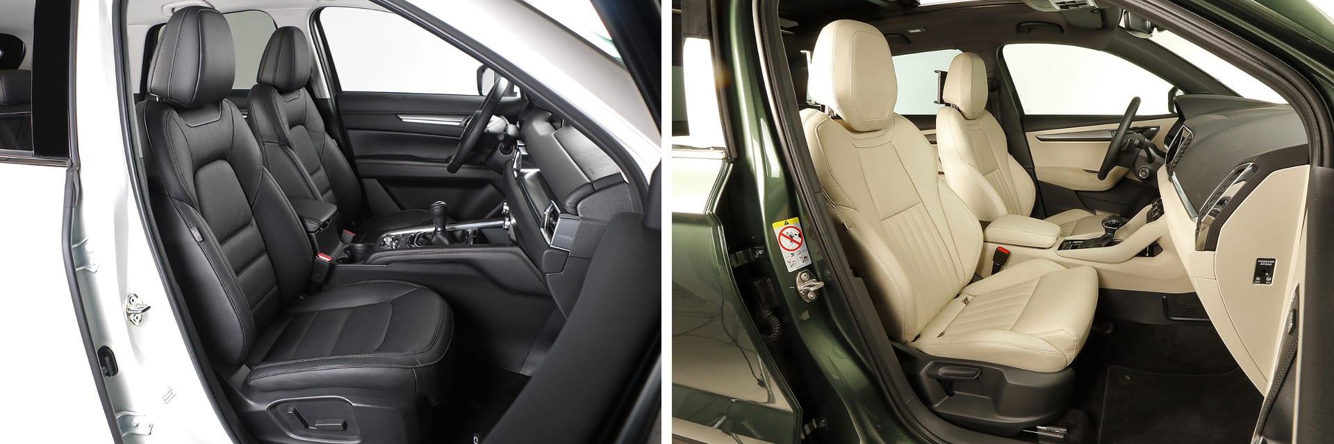 Los asientos delanteros del CX-5 (izq.) y los del Karoq (dcha.) son cómodos y proporcionan una buena sujeción del cuerpo en las curvas.