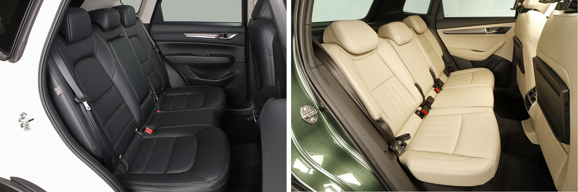 El respaldo de los asientos traseros del Mazda (izq.) pueden inclinarse para dar mayor comodidad. En el Karoq (dcha.) esto es opcional.