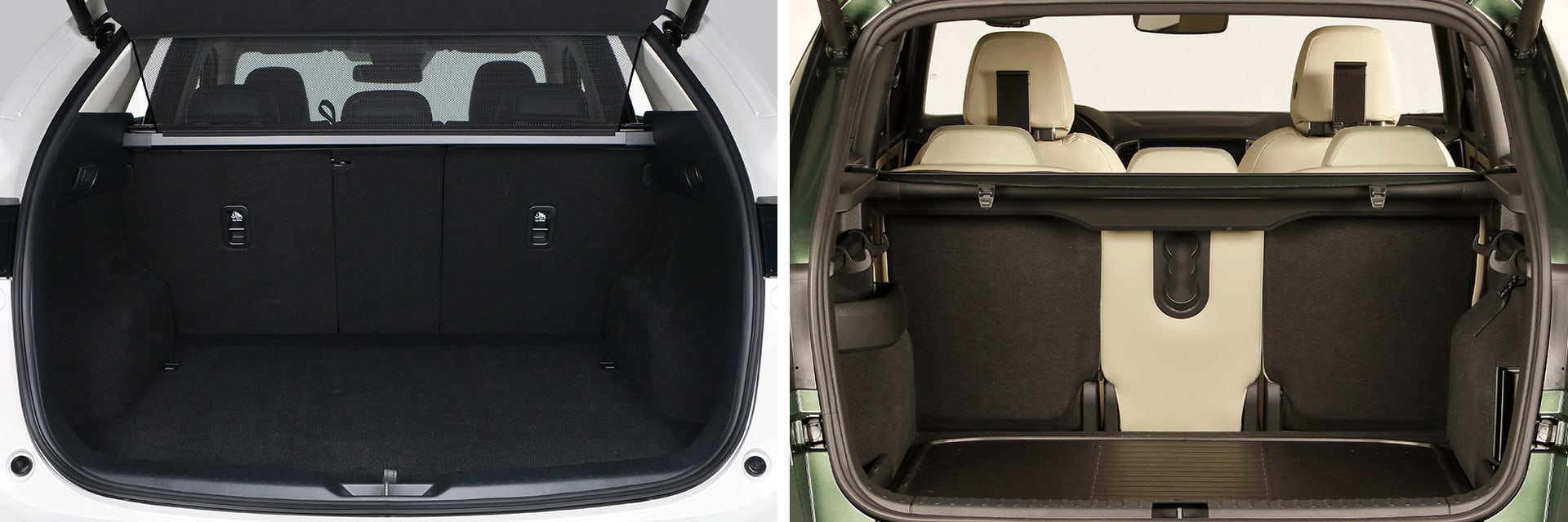 El maletero del Mazda CX-5 (izq.) tiene una capacidad de 477 litros; el del Škoda Karoq (dcha.) es de 521 litros.