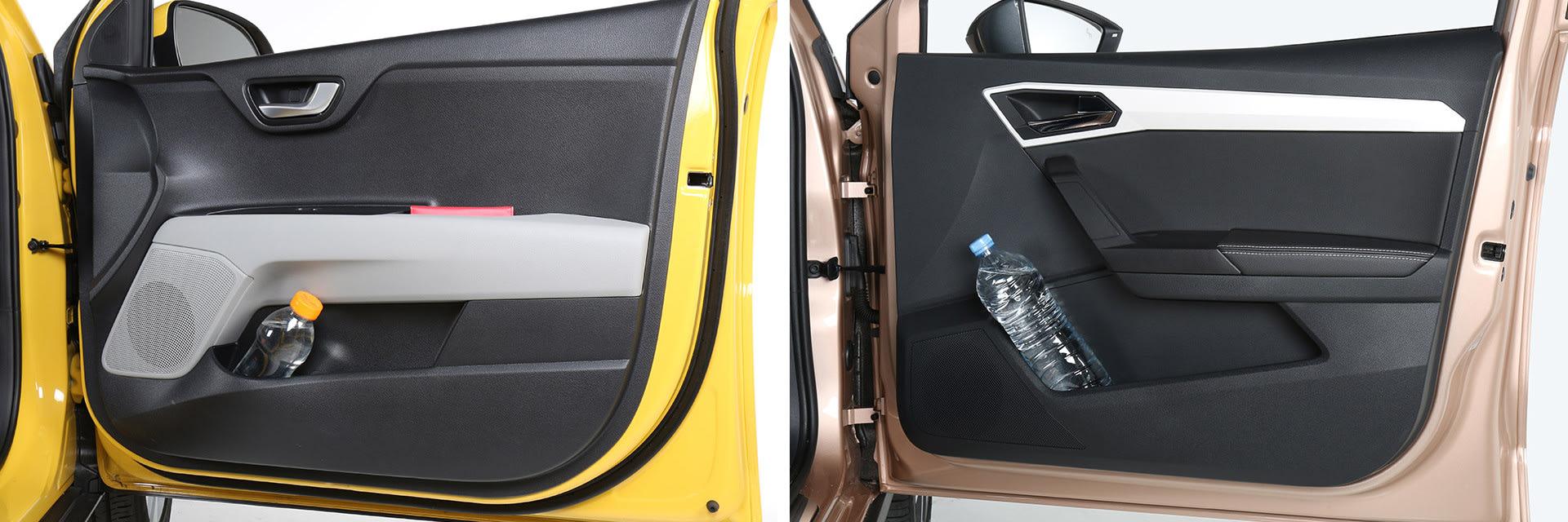 Ambos coches tiene repartidos por el interior una gran cantidad de huecos para almacenar distintos objetos como pueden ser botellas de aguda, las llaves, el móvil o la cartera.