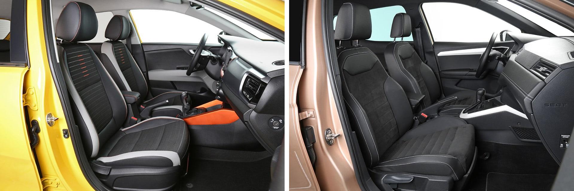 Los asientos delanteros el Stonic (izq.) y del Arona (dcha.) son cómodos y sujetan bien el cuerpo.