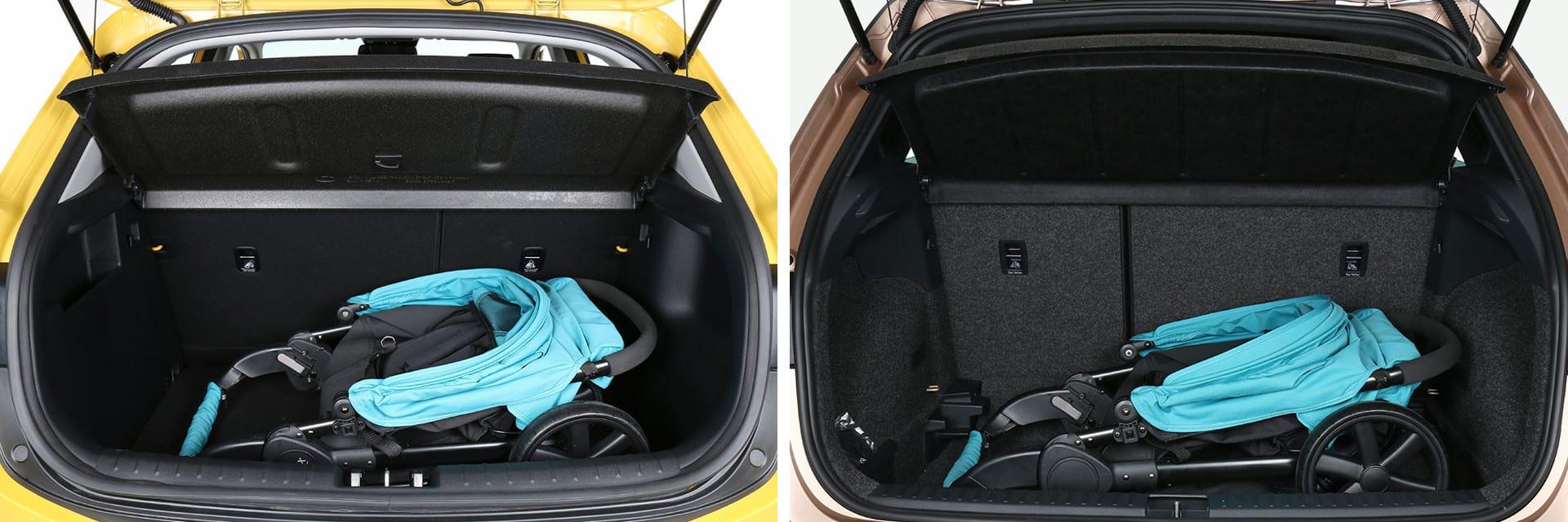 La capacidad del maletero del Stonic (izq.) es de 332 litros, mientras que la del Arona (dcha.) es superior: 400 litros.