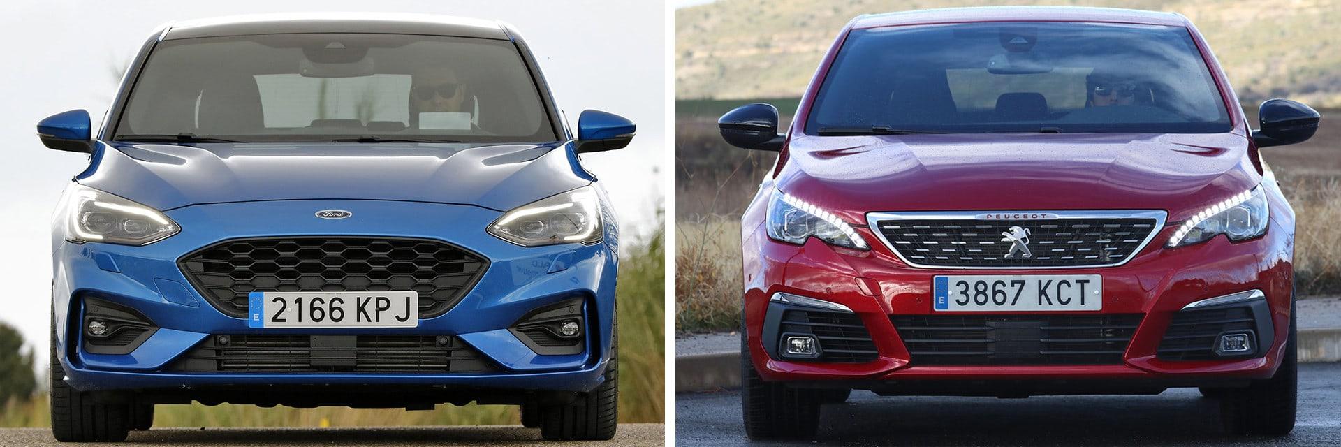 Las fotos del Ford Focus (izq.) y las del Peugeot 308 (dcha.) corresponden a los acabados indicados en la comparativa(*) / km77