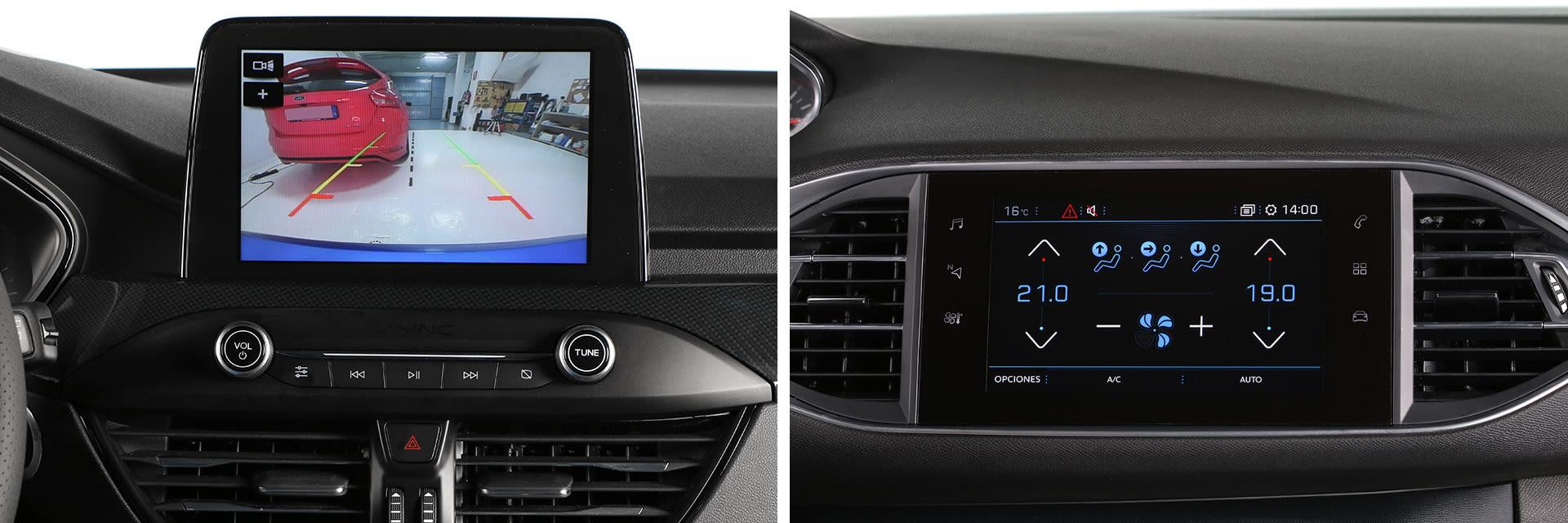 La pantalla del Ford Focus (izq.) tiene un tamaño de 8 pulgadas y la del 308 (dcha.) es de 9,7.