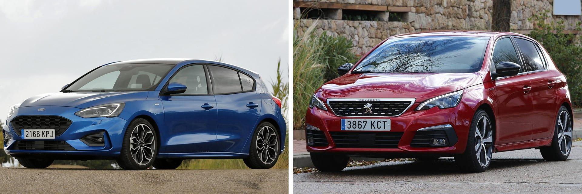 El Peugeot 308 (dcha.) tiene mejores cualidades dinámicas que el Ford Focus (izq.)