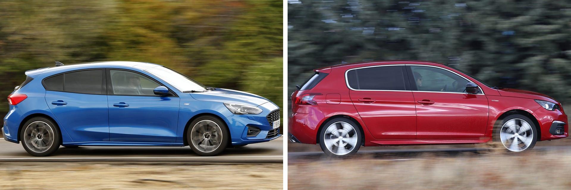 Durante las pruebas de consumo, el Ford Focus (izq.) gastó 6,3 l/100 km, mientras que el Peugeot consumió de 7,2.