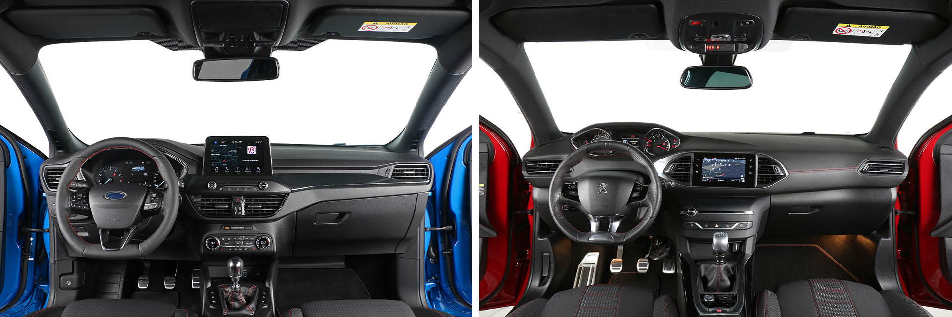 Ambos modelos cuentan con buenos materiales de recubrimiento, aunque los del Peugeot 308 (dcha.) están mejor ensamblados y hacen menos ruido durante la conducción.