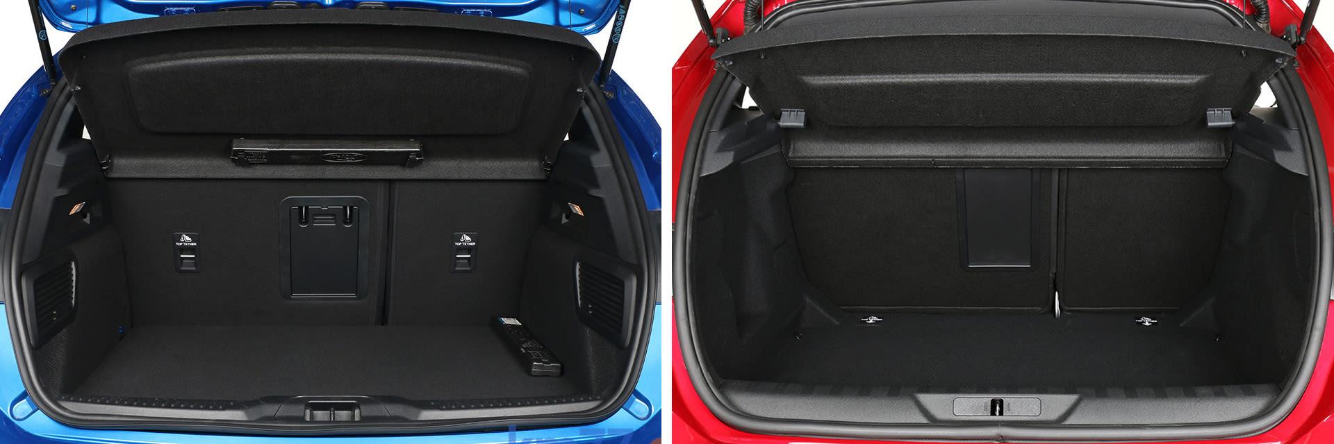 El maletero del Ford Focus (izq.) tiene una capacidad de 375 litros; el del Peugeot 308 (dcha.) es de 398 litros.