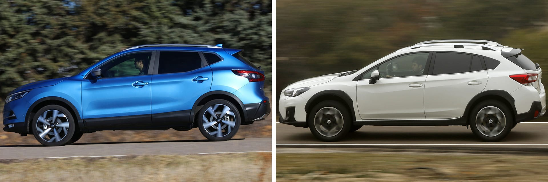 Las fotos del Nissan Qashqai (izq.) corresponden al acabado Tekna+ (34.950 €) y las del Subaru XV (dcha.) al Executive Plus (29.700 €). A estos precios habría que sumar el del equipamiento opcional de cada modelo (*) / km77