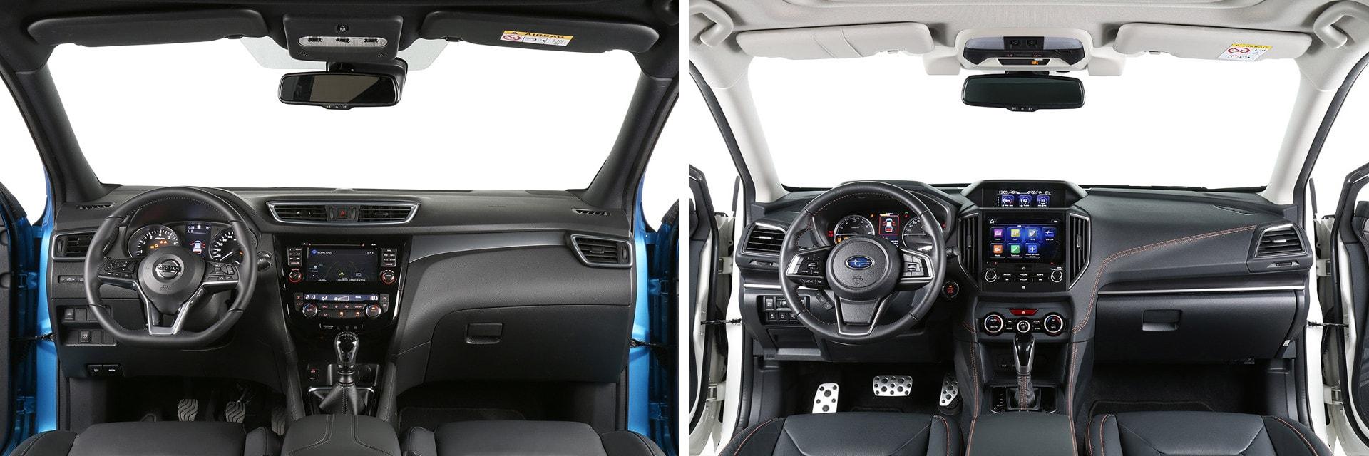 El interior del Nissan Qashqai (izq.) es más moderno y está hecho con materiales de mejor calidad. El del Subaru XV (dcha.) es más espartano.
