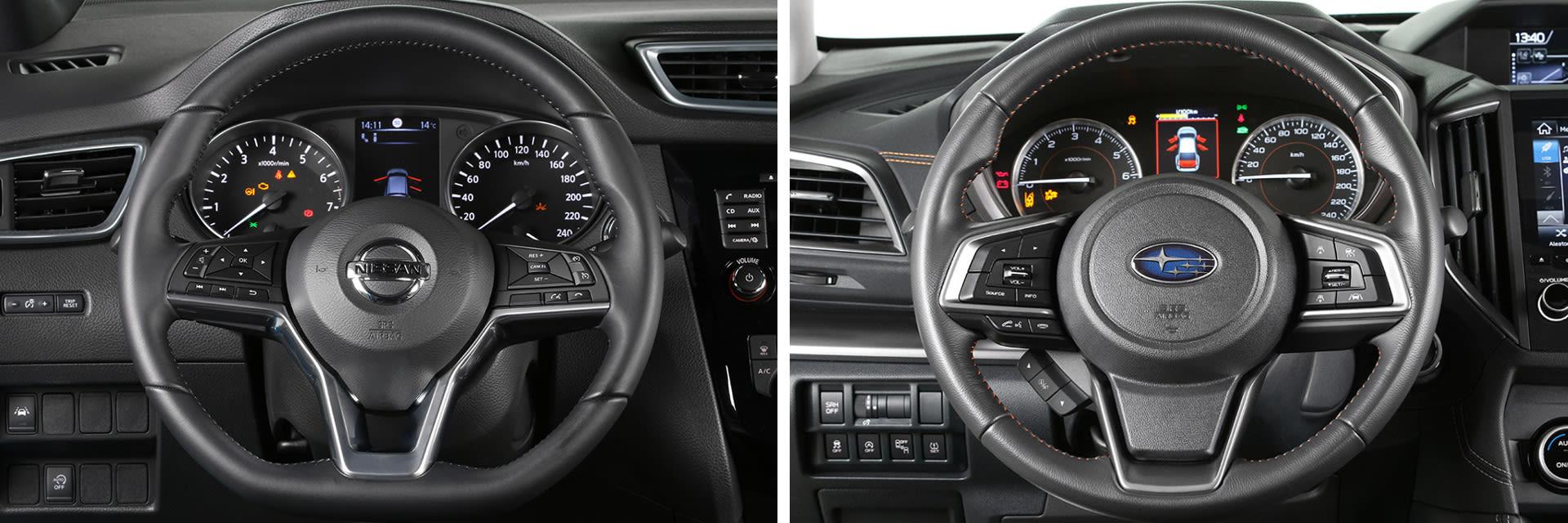 El volante del Nissan Qashqai (izq.) tiene menos ajustes que el del Subaru XV (dcha.)