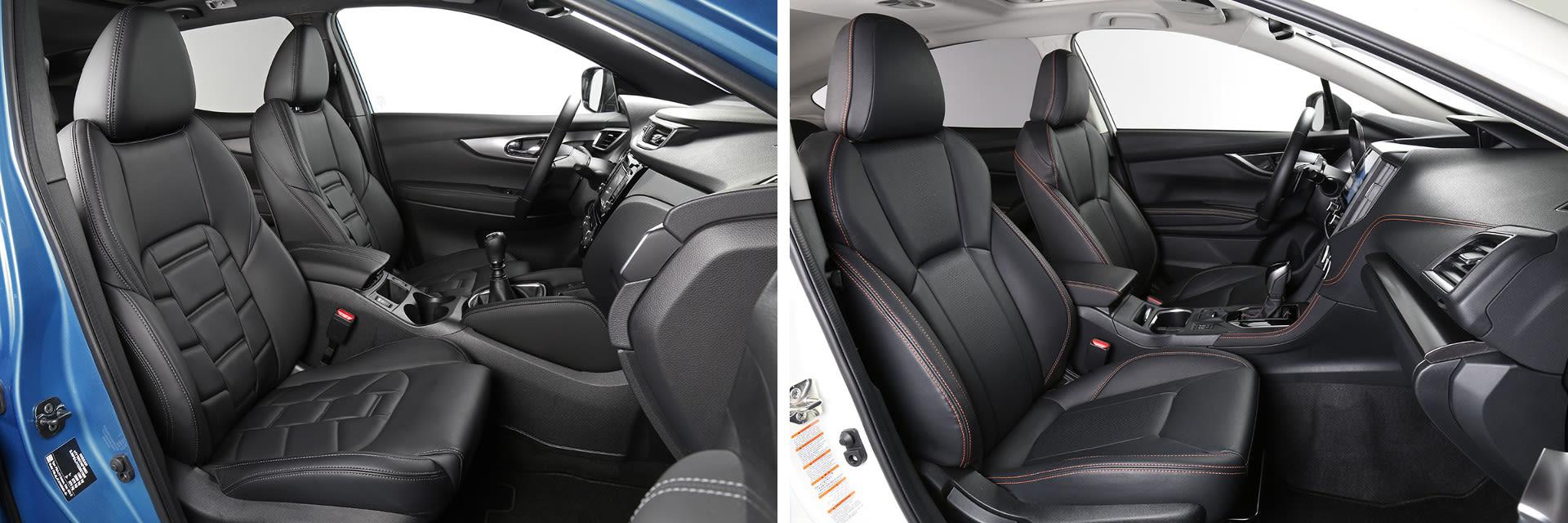 Los asientos delanteros del Subaru XV (dcha.) tienen un mullido más firme y una mejor sujeción que los del Nissan (izq.)