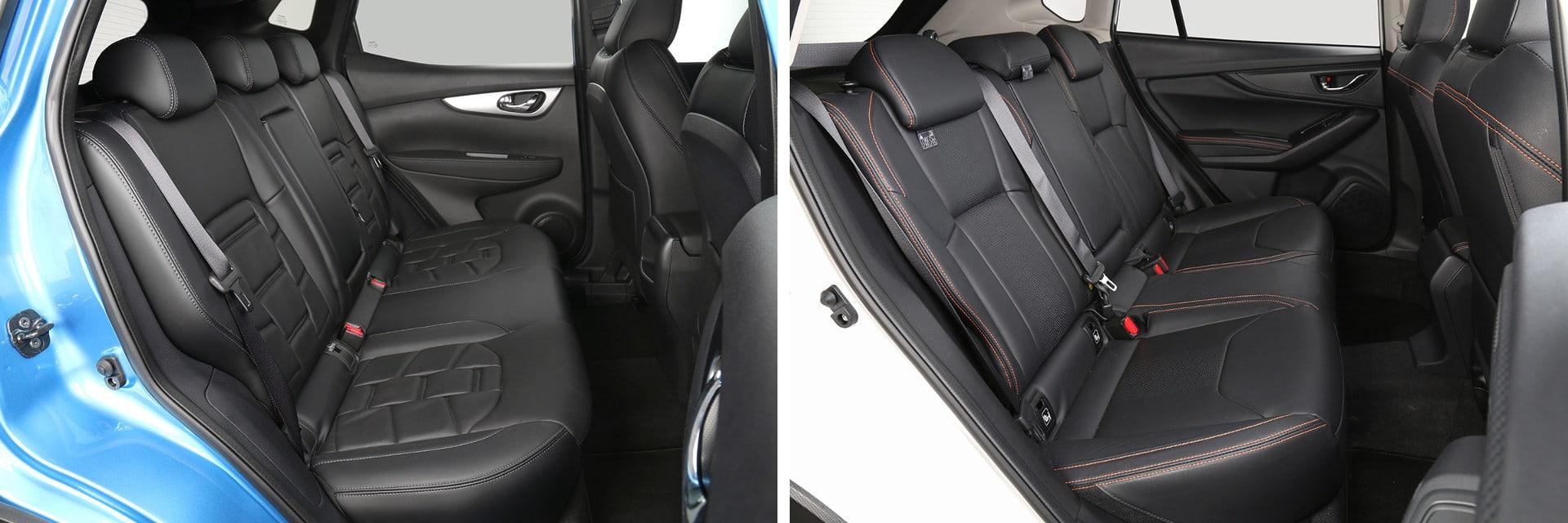 En la parte trasera del Subaru XV (dcha.) los pasajeros de 1,85 metros o más altura viajan de manera más cómoda que en el Nissan (izq.)