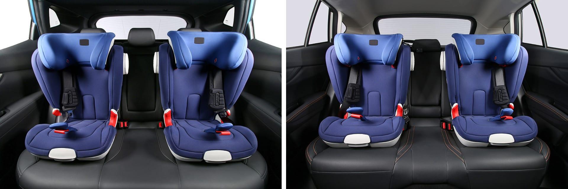 Tanto en el Nissan Qashqai (izq.) como en el Subaru XV (dcha.) es posible instalar hasta dos sillas para bebés en la parte trasera.