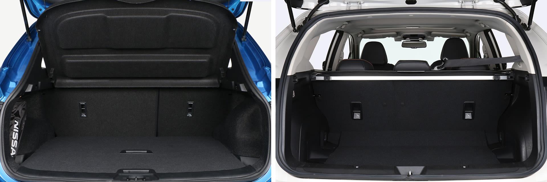 La capacidad del maletero del Nissan Qashqai (izq.) es de 430 litros, mientras que la del Subaru XV es de 385.