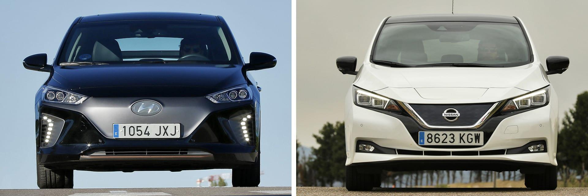 Tanto el IONIQ (izq.) como el Leaf (dcha.) son vehículos prácticamente idénticos en tamaño.