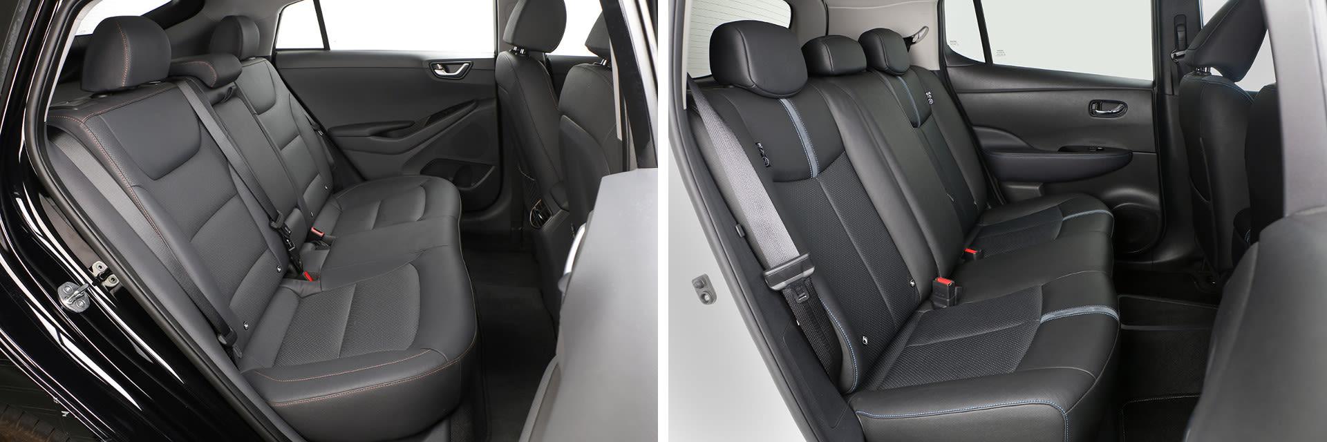Los asientos traseros del Nissan Leaf (dcha.) vienen de serie con calefacción, un sistema que no está disponible en el Hyundai (izq.)