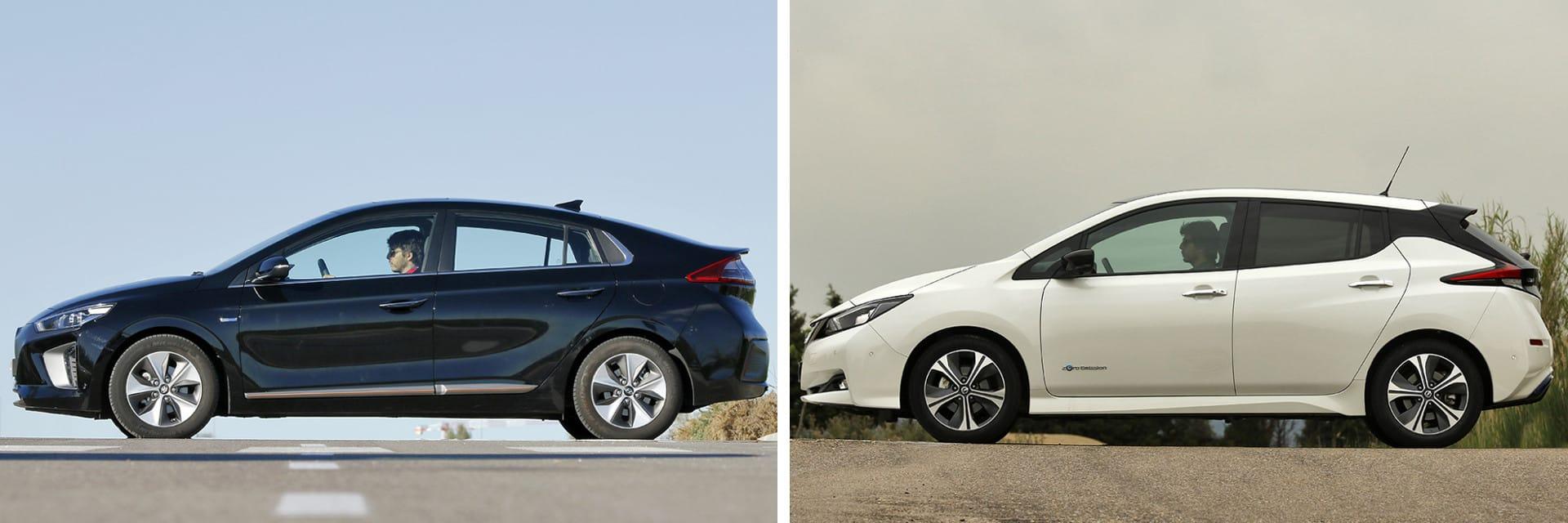 El Hyundai IONIQ (izq.) tiene una potencia de 120 caballos y la del Nissan Leaf (dcha.) es de 150 caballos.