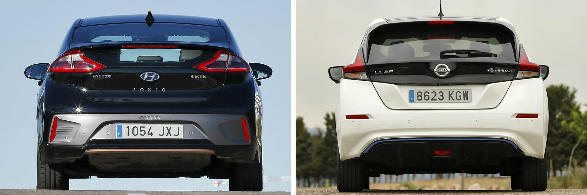 Según nuestras mediciones, en ciudad el Hyundai (izq.) tiene una autonomía entre 150 y 200 km; la del Leaf (dcha.) está entre 170 y 210 km.