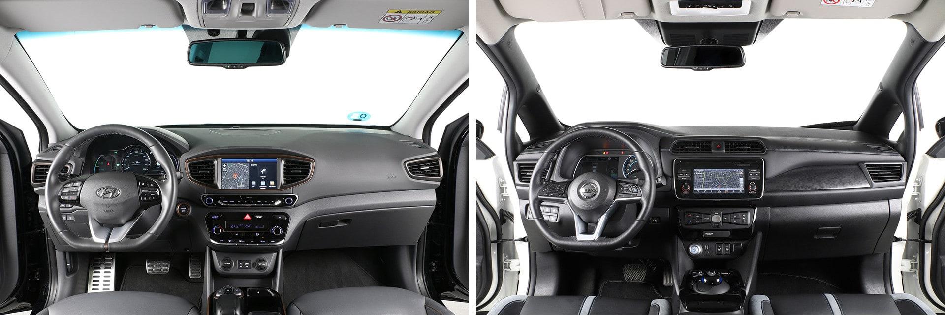 El volante del Hyundai (izq.) tiene ajuste vertical y horizontal; el del Leaf (dcha.), tan solo vertical.