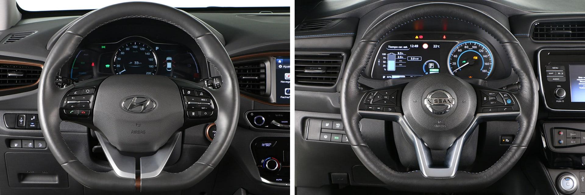 El volante del Nissan Leaf (dcha.) viene de serie con calefacción, algo que no es ni opcional en el del IONIQ (izq.)