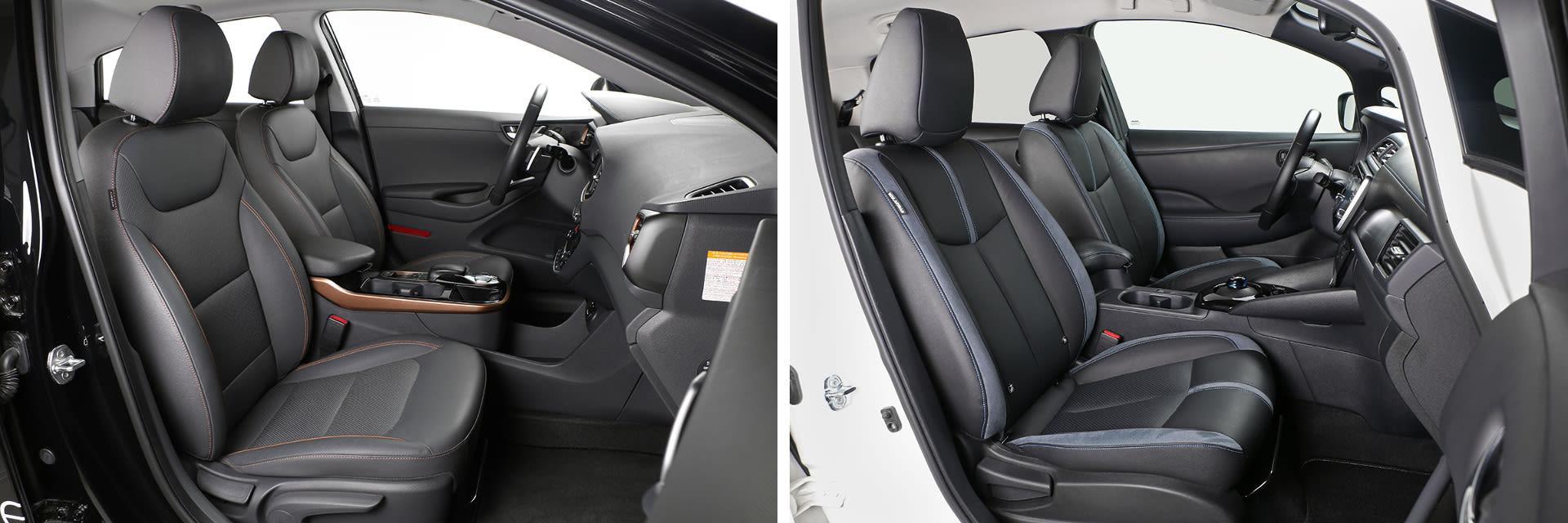 Los asientos delanteros del Hyundai IONIQ (izq.) y los del Nissan Leaf (dcha.) vienen de serie con calefacción.