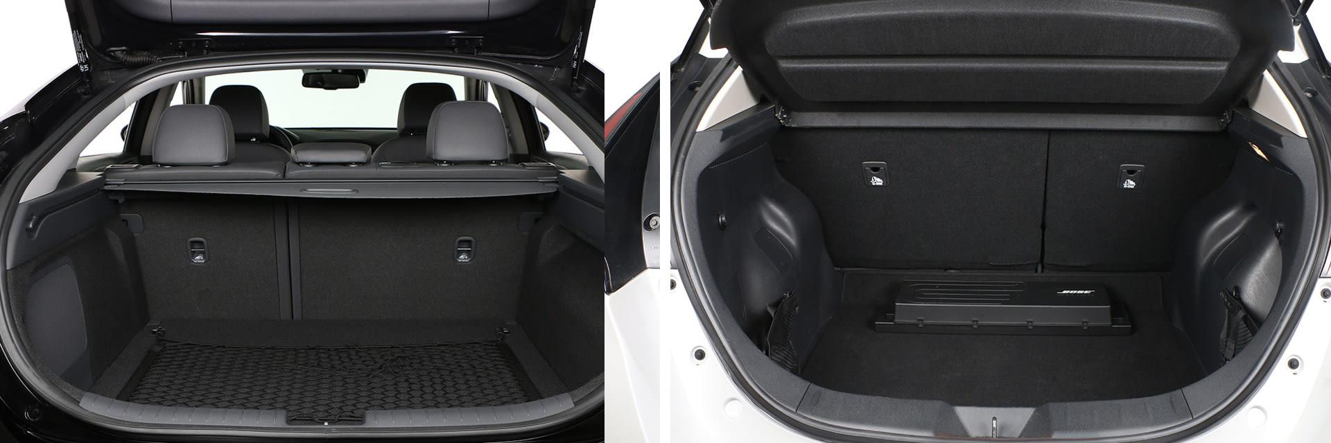 El maletero del Nissan Leaf (dcha.) tiene una capacidad de 400 litros; el del Hyundai (izq.) es de 350 litros.